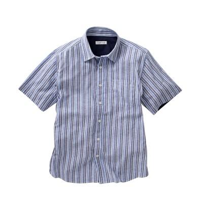 麻入りドビーストライプ柄半袖シャツ カジュアルシャツ, Shirts,