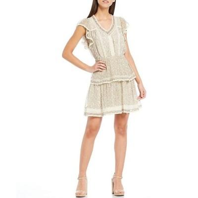 チェルシーアンドバイオレット レディース ワンピース トップス Ditsy Floral Print Lace Inset Flutter Sleeve Tiered Hem Dress