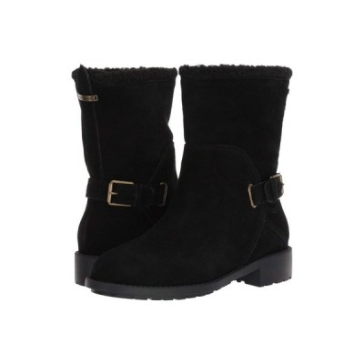 コールハーン Cole Haan レディース ブーツ シューズ・靴 Quiana Bootie Waterproof Black Suede/Black Shearling/Black/Antique Brass
