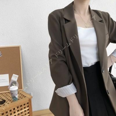 テーラードジャケット レディース フォーマルジャケット ブレザー 通勤 オフィス カジュアル スーツ 袖 大きい サイズ 無地 大人 グレー コーヒー お呼ばれ