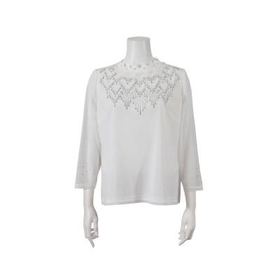 【リリアンビューティ】 チュール×レース刺繍 ハイネックTシャツ レディース ホワイト LL Liliane Burty
