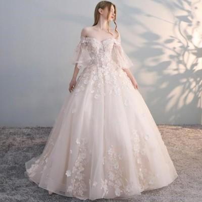 フレア袖が特徴的?可愛い刺繍のお姫様ロング?トレーンドレス☆彡ドレス