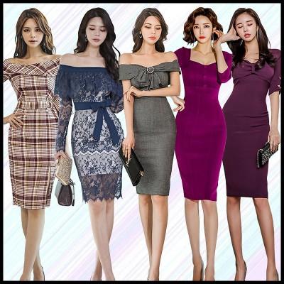 2020 3.16 新作入荷 韓国ファッションOL正式な場合礼装ドレスセクシーな 高品質ワンピース一字肩二点セット側開深いVネックやせて見えるウエディングドレス
