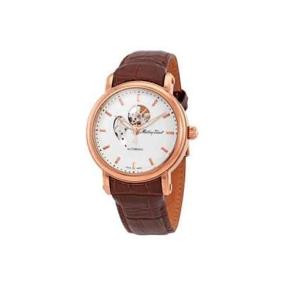 腕時計 ティソット メンズ Mathey-Tissot Skeleton White Dial Automatic Men's Brown Leather Watch H7051PI