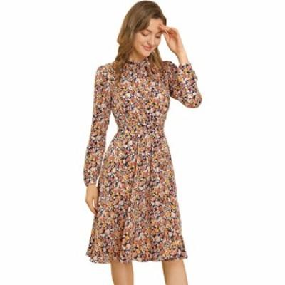 Allegra K シフォンワンピース ドレス リボン ボウタイ 花柄 長袖 ひざ丈 ベルト付き レディース イエロー S