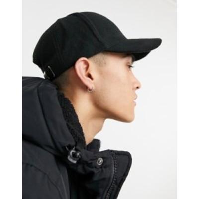 エイソス メンズ 帽子 アクセサリー ASOS DESIGN baseball cap in black fleece Black
