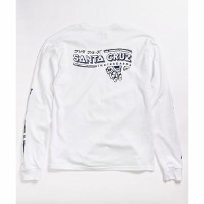 サンタクルーズ SANTA CRUZ SKATE メンズ 長袖Tシャツ トップス Santa Cruz Inherit White Long Sleeve T-Shirt White