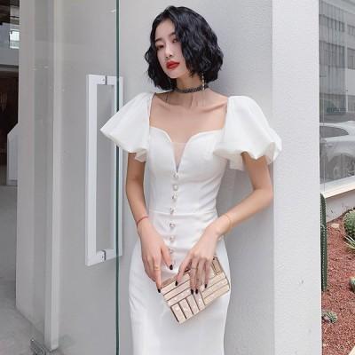 2021夏新品ウェディングドレス白 パーティードレス ウエディングドレス エレガント Vネック ウエディング 花嫁ロングドレス 結婚式 二次会 挙式hs5786