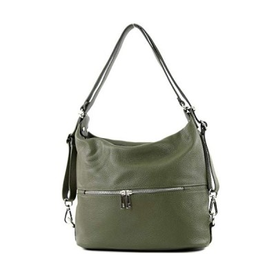 modamoda de - T189 - ital. Ladies backpack bag 2in1 made of leather, Colour:olive 並行輸入品