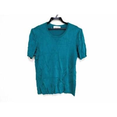 イヴサンローラン YvesSaintLaurent 半袖セーター サイズM レディース 美品 グリーン【還元祭対象】【中古】20200313