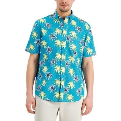 クラブルーム Club Room メンズ 半袖シャツ トップス Multi Palm Linen-Blend Short Sleeve Shirt Turquoise