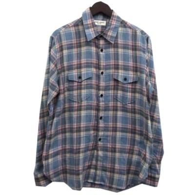 【4月13日値下】SAINT LAURENT PARIS チェックネルシャツ ブルー サイズ:M (渋谷神南店)
