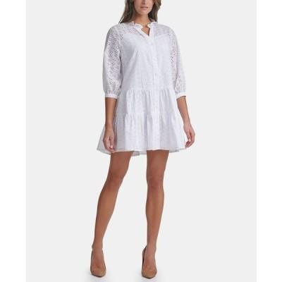 トミー ヒルフィガー ワンピース トップス レディース Cotton Eyelet Tiered Dress White