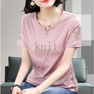 トップスシャツレディース半袖40代50代60代シニアTシャツ大きいサイズゆったり夏大人カジュアル6448