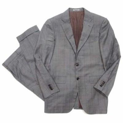 【中古】タケオキクチ ロロピアーナ スーツ セットアップ ジャケット シングル パンツ チェック グレー IBO5 メンズ