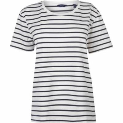 ガント Gant レディース Tシャツ トップス Breton Stripe T Shirt EVENING BLU