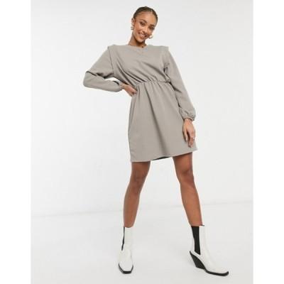 オンリー レディース ワンピース トップス Only jersey mini dress with strong shoulder in gray