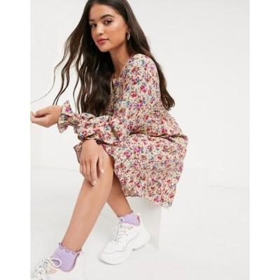 ニュールック レディース ワンピース トップス New Look shirred cuff mini dress in cream ditsy floral print