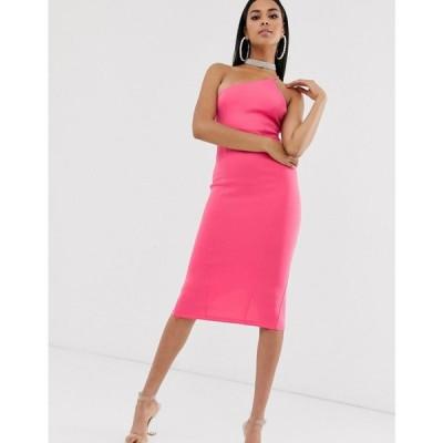 エイソス ASOS DESIGN レディース ワンピース ワンピース・ドレス one shoulder strappy back midi dress ホットピンク