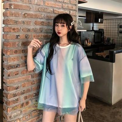 レディースTシャツトップス半袖サマーTシャツチュール通勤ストライプ韓国ファッション通学ゆったりカジュアルMがーりーXL
