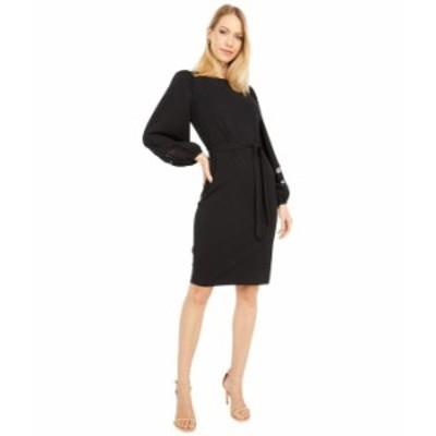 カルバンクライン レディース ワンピース トップス Belted Dress with Illusion Sleeve Detail Black