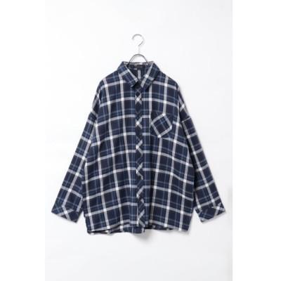 【ヴァンスシェアスタイル/VENCE share style】 オーバーシルエットチェックシャツ