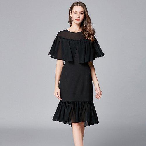 Olivia奧莉精品 典雅荷葉邊半透視連身裙洋裝 L~5XL 洋裝 連身裙 禮服 伴娘服 媽媽裝