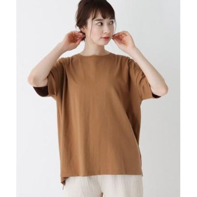(SHOO・LA・RUE/シューラルー)【M-LL】バックツイストオープンTシャツ/レディース キャメル(041)
