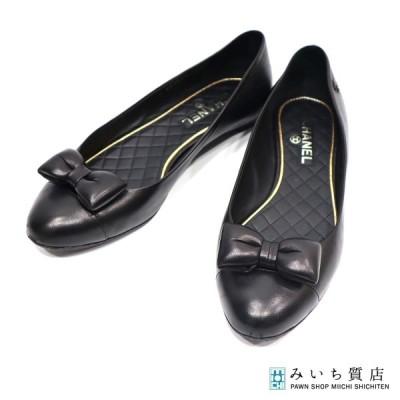 質屋 パンプス CHANEL シャネル ココマーク リボン レザー G27977 ブラック 靴 シューズ レディース 表記サイズ 39 みいち質店