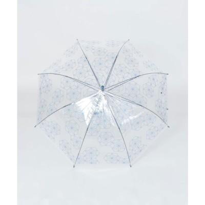 【カヤ】和の赴き傘 麻の葉 透明傘 ブルー系その他