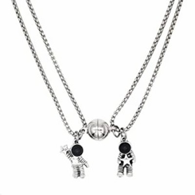 Innocence 925 Silver Plated Mutual Attraction Couple Distance Necklaces Spaceman Pendants with Magnets 2 PCS Promise Anniversary