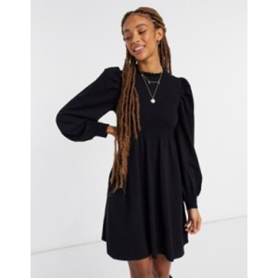 エイソス レディース ワンピース トップス ASOS DESIGN knitted babydoll dress with shirring detail in black Black