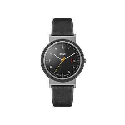 Braun Unisex 3-Hand with Date Analogue Swiss-Part Quartz Watch, Made in Germany, Black Dial and Black Leather Strap, 39mm Stainless Steel Case, Model