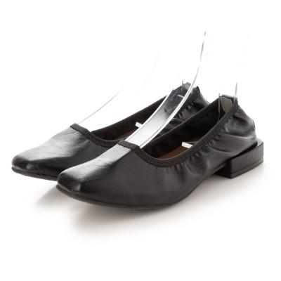セスト SESTO 履き口ゴムのスクエアトゥブロックヒールパンプス (ブラック)