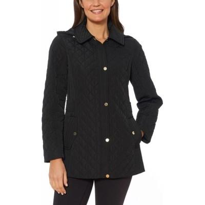 ジョンズニューヨーク Jones New York Petites レディース ジャケット フード アウター Jones New York Petite Water-Resistant Quilted Hooded Jacket Black