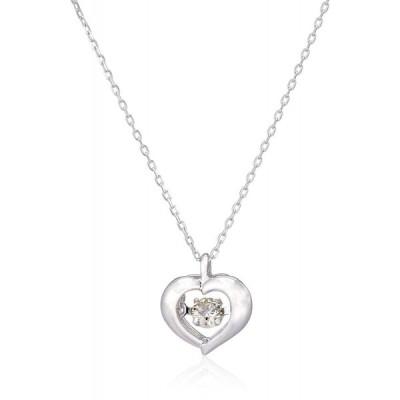 新品 送料無料 K18 WG 18金 ダンシング ダイヤモンド ペンダント ネックレス 0.08ct 40cm ハート 日本製 ホワイトゴールド 金 レディース