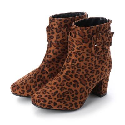 マシュガール masyugirl 【4E/幅広ゆったり・大きいサイズの靴】 ベルト使いミドルヒールブーツ】 (レオパード) SOROTTO