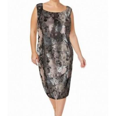 Seam  ファッション ドレス Kasper NEW Purple Womens Size 16W Plus Floral Seam Sheath Dress