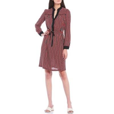 アンクライン レディース ワンピース トップス Drawstring Waist Stripe Contrast Trim Dress Cinnamon/Black