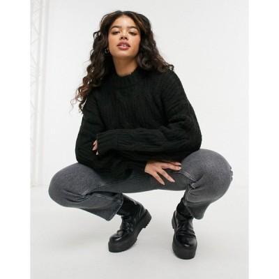 アーバン ブリス レディース ニット&セーター アウター Urban Bliss balloon sleeve cable knit sweater in black Black