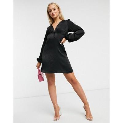 ナーナー レディース ワンピース トップス NaaNaa satin tea dress in black Black
