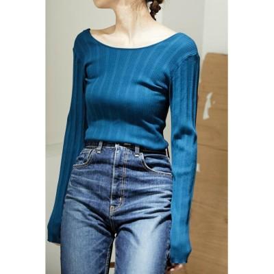 (BLACK BY MOUSSY/ブラックバイマウジー)washable knit random rib tops/レディース BLU