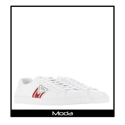 PRADA プラダ スニーカー メンズ ロゴ レザー ホワイト