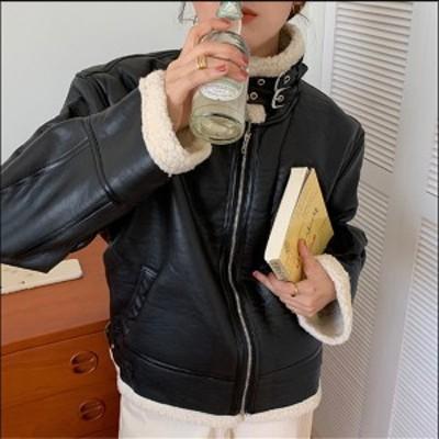 送料無料 ライダースジャケット ボアジャケット レディース フェイクレザー 秋冬 もこもこ 大きいサイズあり コート アウター レザー