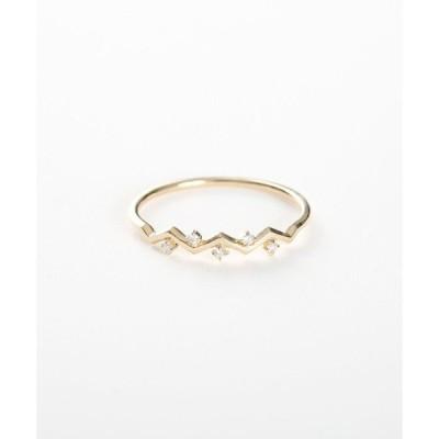 指輪 K10YG ダイヤモンド リング「レイヤード」