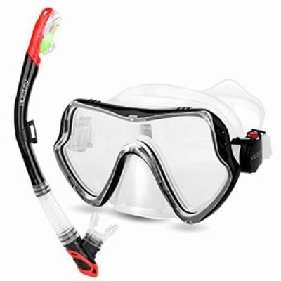 VILISUN シュノーケルセット シュノーケリング 2点セット スノーケル マスク ダイビングマスク 潜水メガネ 曇り止め 強化ガラス 防水 シ