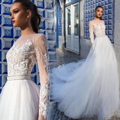 パーティードレス ウエディングドレス 二次会 花嫁 Aライン 白 ロングドレス チュール 結婚式 演奏会 お呼ばれ レース フォーマル トレーン シースルーレース