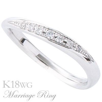 マリッジリング 結婚指輪 高品質 ダイヤモンド K18 ホワイトゴールド レディース 7bl 指輪 おしゃれ