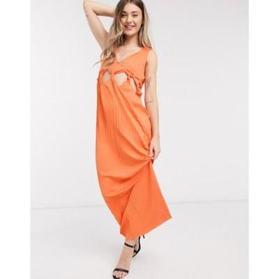 エイソス レディース ワンピース トップス ASOS DESIGN knot waist plunge pleated maxi dress in orange