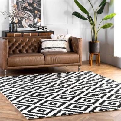 nuLOOM Kellee コンテンポラリー ウール エリアラグ 8フィート 正方形 ブラック